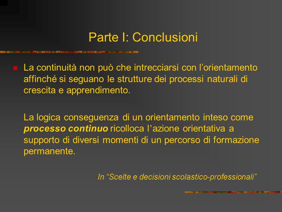 Parte I: Conclusioni La continuità non può che intrecciarsi con lorientamento affinché si seguano le strutture dei processi naturali di crescita e app