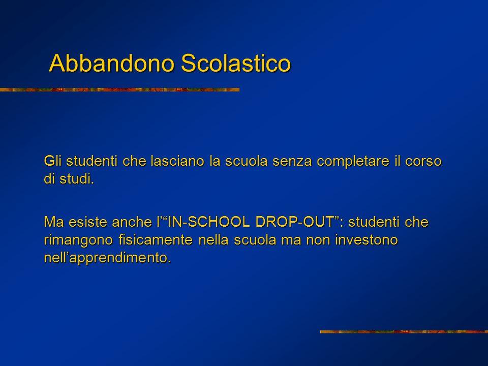 Abbandono Scolastico Abbandono Scolastico Gli studenti che lasciano la scuola senza completare il corso di studi. Ma esiste anche lIN-SCHOOL DROP-OUT:
