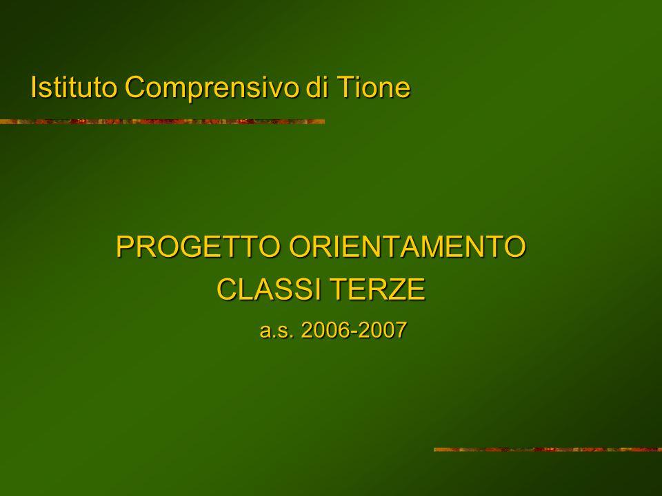 Istituto Comprensivo di Tione PROGETTO ORIENTAMENTO CLASSI TERZE a.s. 2006-2007