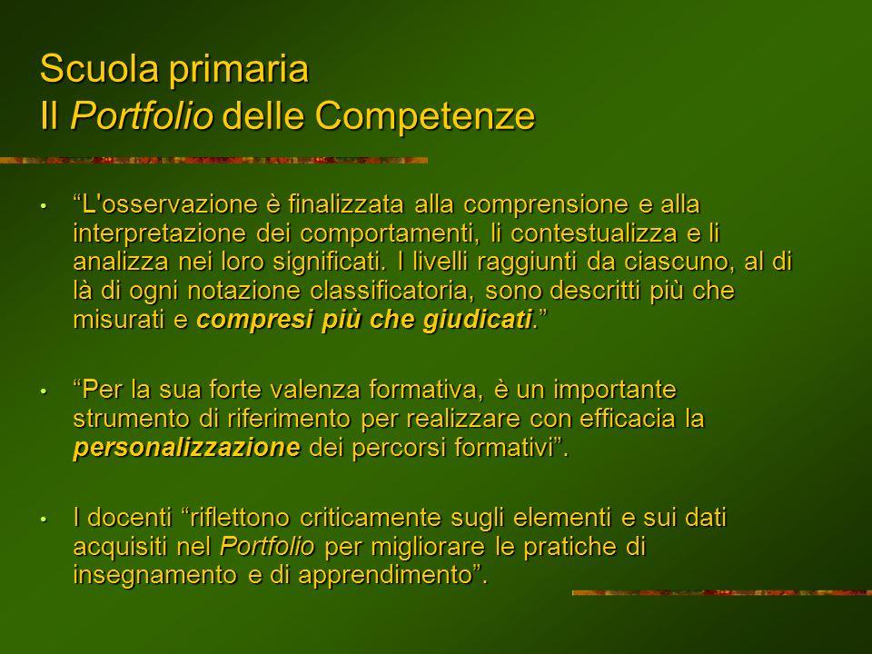 Scuola primaria Il Portfolio delle Competenze L'osservazione è finalizzata alla comprensione e alla interpretazione dei comportamenti, li contestualiz