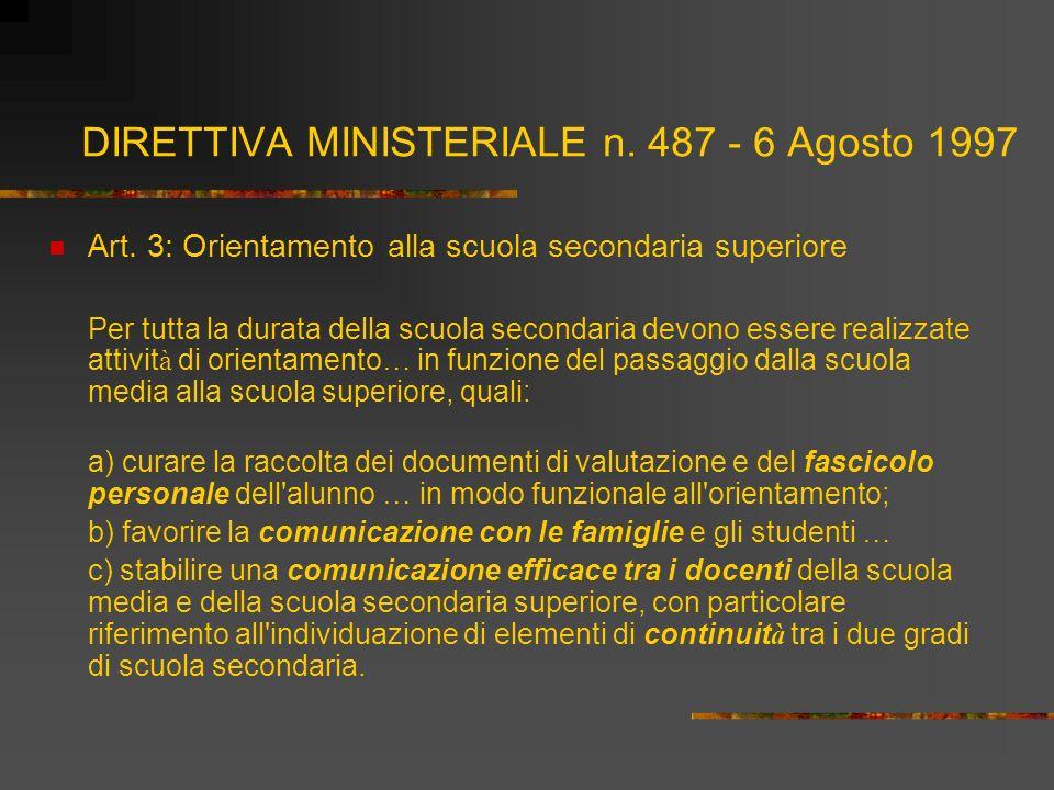 DIRETTIVA MINISTERIALE n. 487 - 6 Agosto 1997 Art. 3: Orientamento alla scuola secondaria superiore Per tutta la durata della scuola secondaria devono