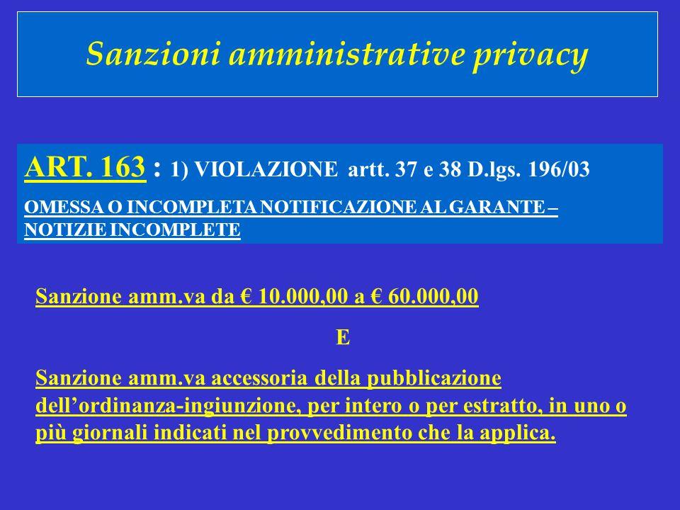 Sanzioni amministrative privacy ART. 163 : 1) VIOLAZIONE artt. 37 e 38 D.lgs. 196/03 OMESSA O INCOMPLETA NOTIFICAZIONE AL GARANTE – NOTIZIE INCOMPLETE