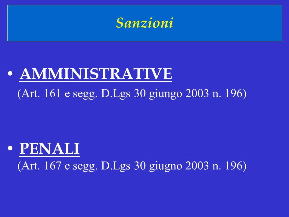 Sanzioni AMMINISTRATIVE PENALI (Art. 161 e segg. D.Lgs 30 giungo 2003 n. 196) (Art. 167 e segg. D.Lgs 30 giugno 2003 n. 196)