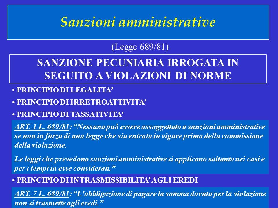Sanzioni amministrative (Legge 689/81) PRINCIPIO DI LEGALITA PRINCIPIO DI IRRETROATTIVITA PRINCIPIO DI TASSATIVITA SANZIONE PECUNIARIA IRROGATA IN SEGUITO A VIOLAZIONI DI NORME ART.