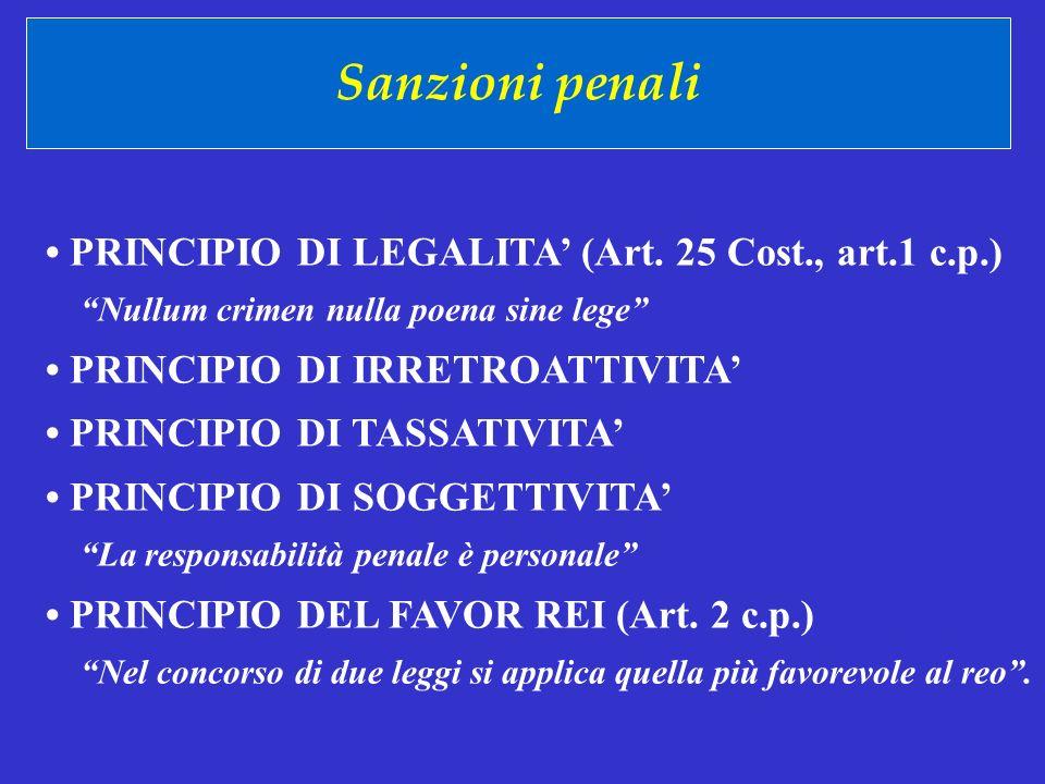 Sanzioni penali PRINCIPIO DI LEGALITA (Art. 25 Cost., art.1 c.p.) Nullum crimen nulla poena sine lege PRINCIPIO DI IRRETROATTIVITA PRINCIPIO DI TASSAT