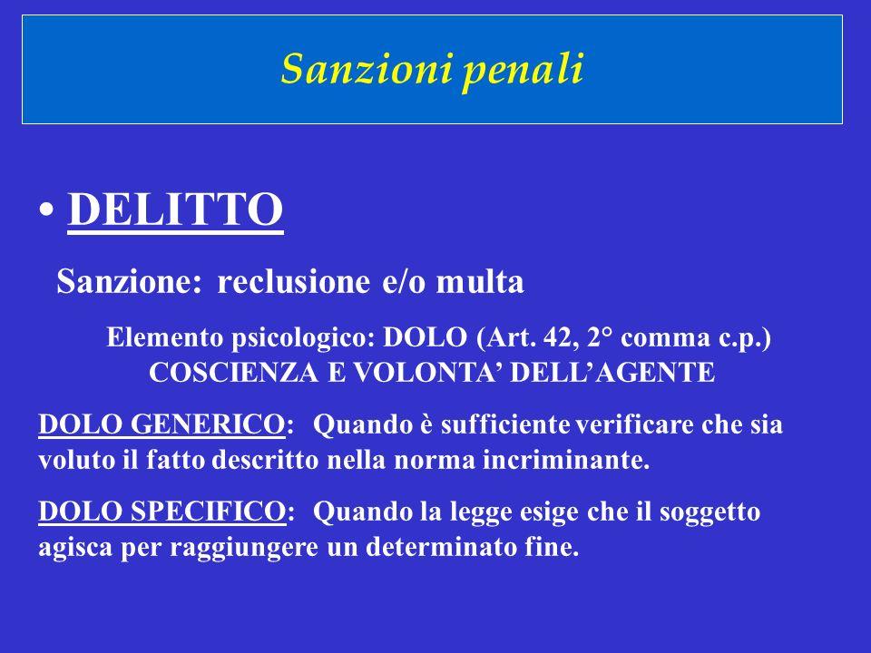 Sanzioni penali DELITTO Sanzione: reclusione e/o multa Elemento psicologico: DOLO (Art. 42, 2° comma c.p.) COSCIENZA E VOLONTA DELLAGENTE DOLO GENERIC
