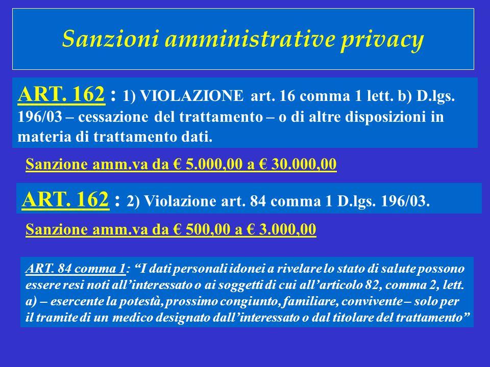 Sanzioni amministrative privacy ART. 162 : 1) VIOLAZIONE art. 16 comma 1 lett. b) D.lgs. 196/03 – cessazione del trattamento – o di altre disposizioni