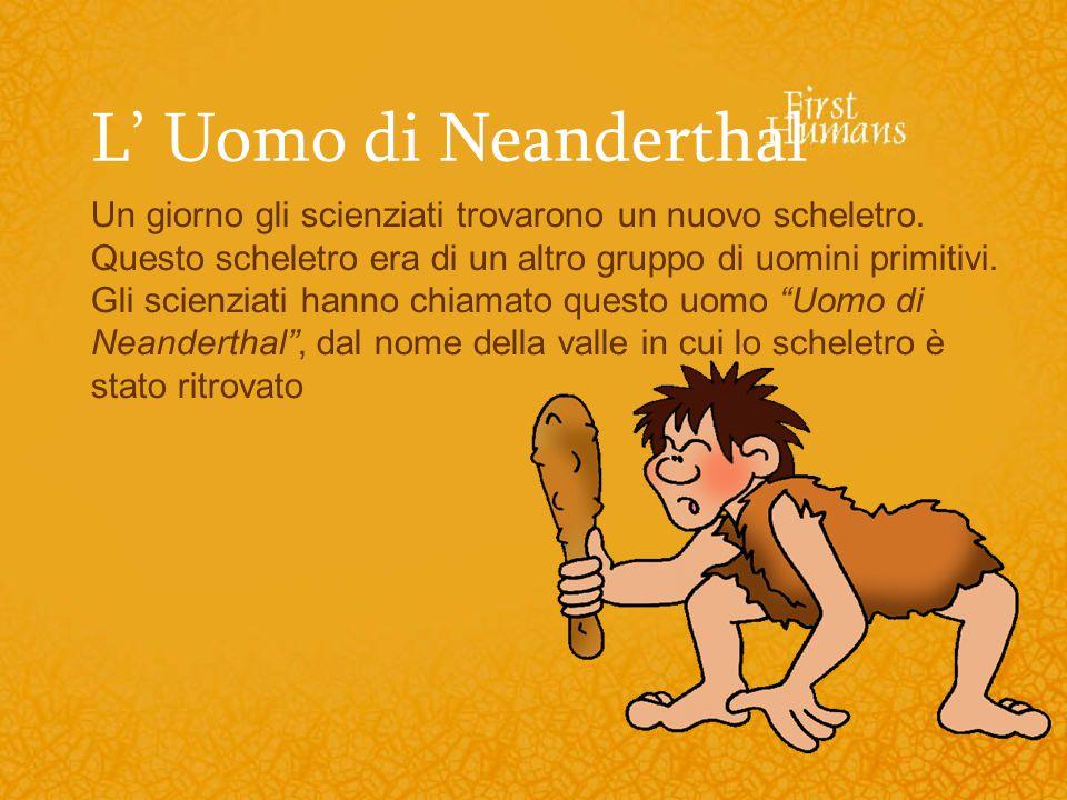 L Uomo di Neanderthal Un giorno gli scienziati trovarono un nuovo scheletro. Questo scheletro era di un altro gruppo di uomini primitivi. Gli scienzia