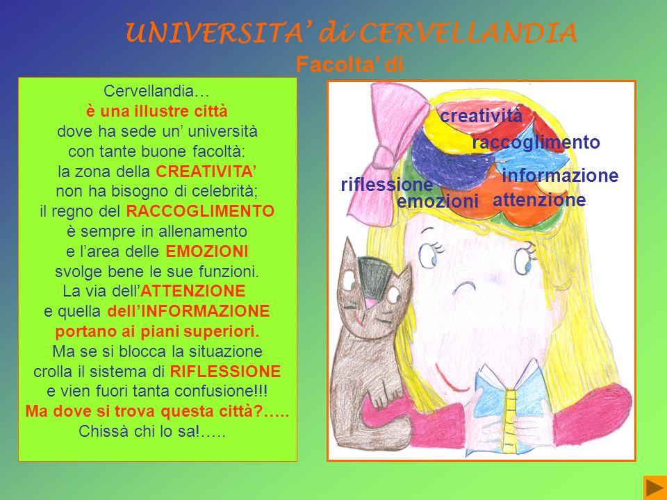 Cervellandia… è una illustre città dove ha sede un università con tante buone facoltà: la zona della CREATIVITA non ha bisogno di celebrità; il regno