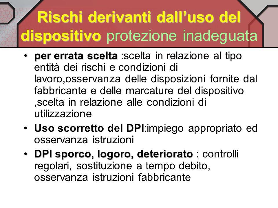 Elmetti : Rischi derivanti dal dispositivo Disagio, confort inadeguato : progetto ergonomico, peso, intercapedine daria,adattamento alla resta, ventil