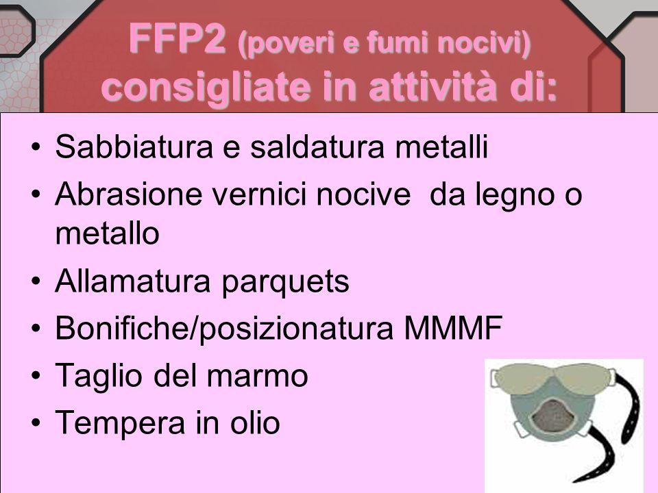 FFP1 ( per polveri o fibre fastidiose) consigliate in attività di: Sgombero macerie Demolizioni edilizie per ristrutturazioni Lavori in cementifici De