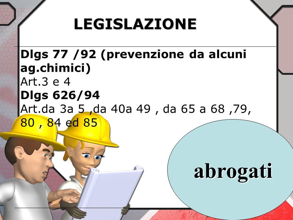 LEGISLAZIONE DPR 547 / 55 (sicurezza sul lavoro) art. da 4 a 6 ed da 369 a 387 DPR 164 / 56 (sicurezza nelle costruzioni) Art.15 DPR 303 /56 (igiene d