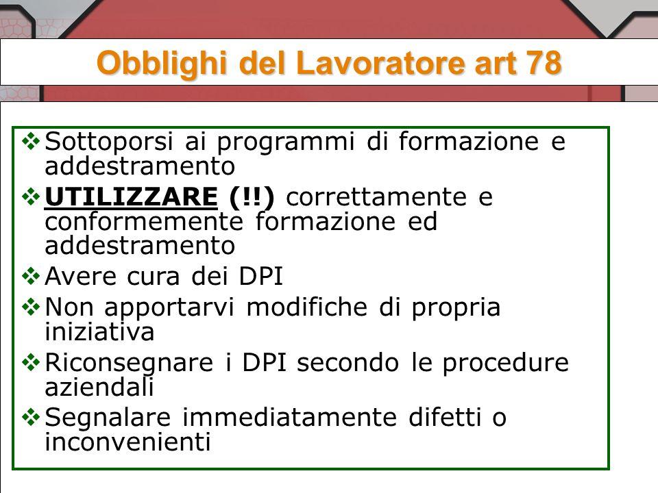OBBLIGHI DEL DATORE DI LAVORO (art.77) Destina i DPI ad uso individuale e, nellimpossibilità di ciò, garantisce con misure adeguate, il mantenimento d