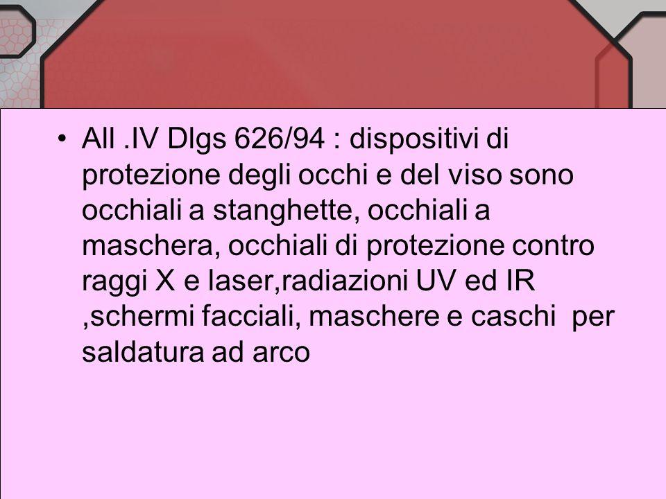 Occhiali di protezione : normativa Art.382 DPR 547/55 :i lavoratori esposti al pericolo di offesa agli occhi per proiezioni di schegge o di materiali
