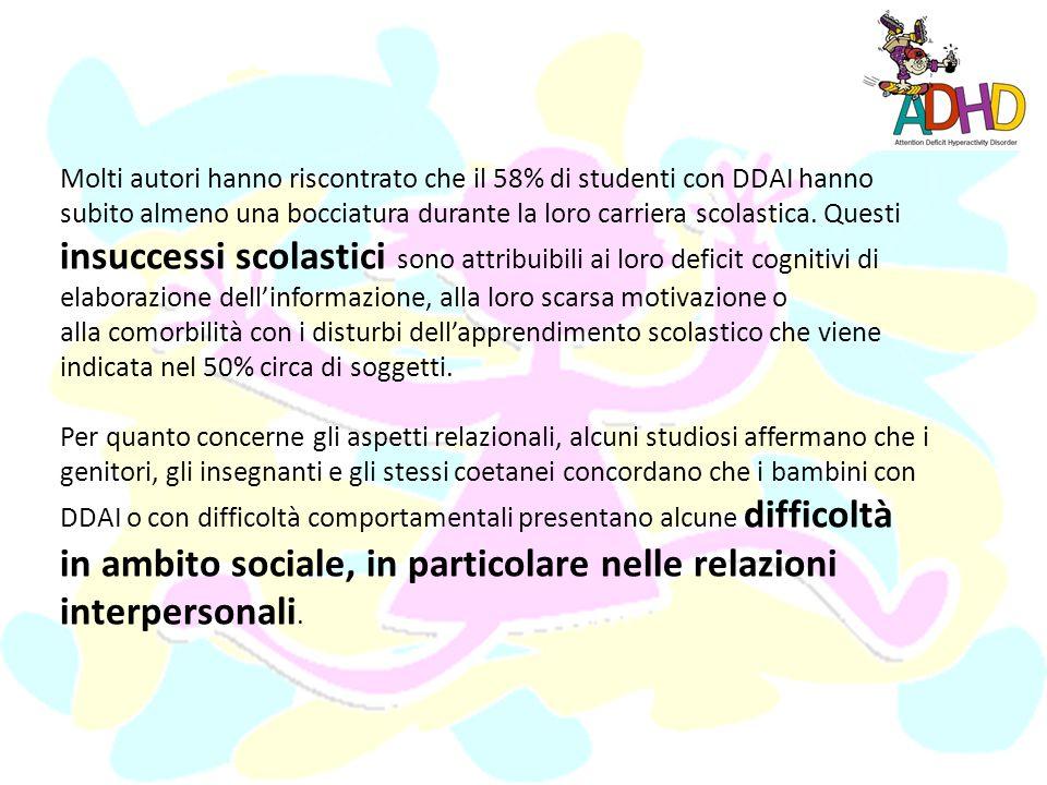Sintomi secondari I soggetti con DDAI o con altri problemi di comportamento manifestano, purtroppo, anche altri sintomi che vengono definiti secondari