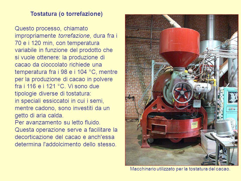 Tostatura (o torrefazione) Questo processo, chiamato impropriamente torrefazione, dura fra i 70 e i 120 min, con temperatura variabile in funzione del