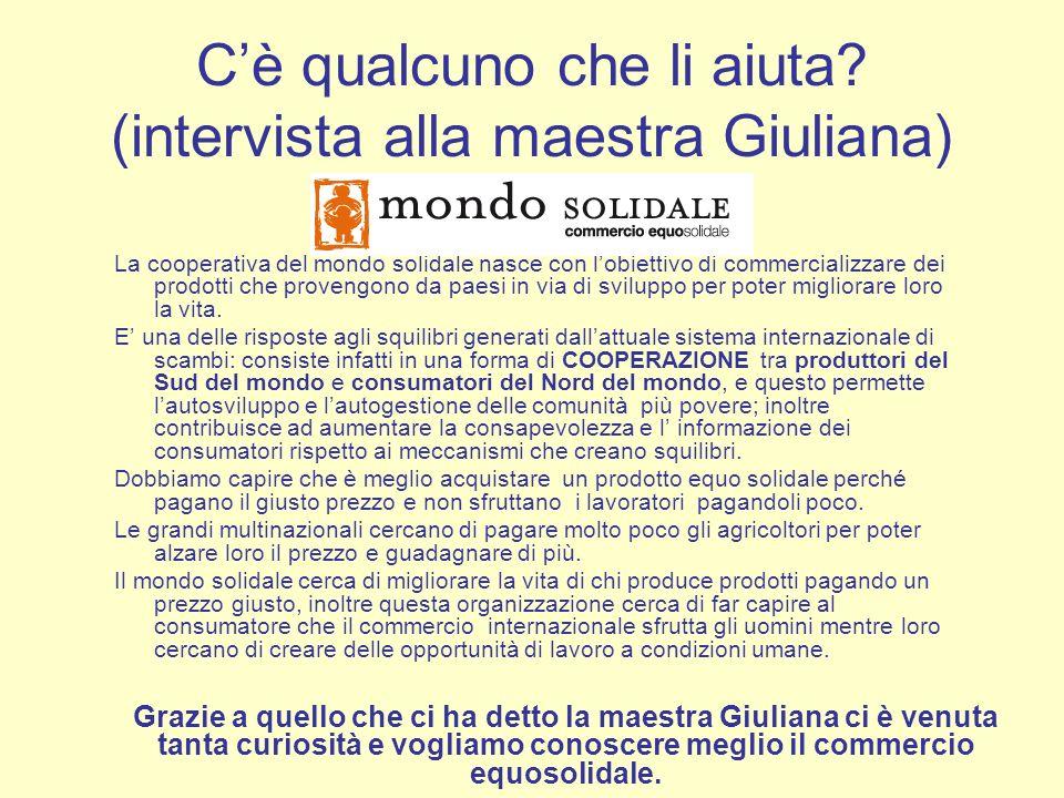 Cè qualcuno che li aiuta? (intervista alla maestra Giuliana) La cooperativa del mondo solidale nasce con lobiettivo di commercializzare dei prodotti c