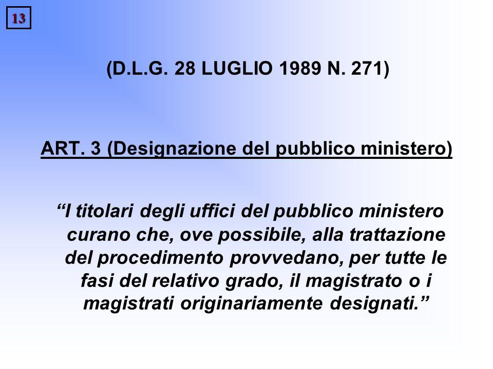 13 (D.L.G. 28 LUGLIO 1989 N. 271) ART. 3 (Designazione del pubblico ministero) I titolari degli uffici del pubblico ministero curano che, ove possibil