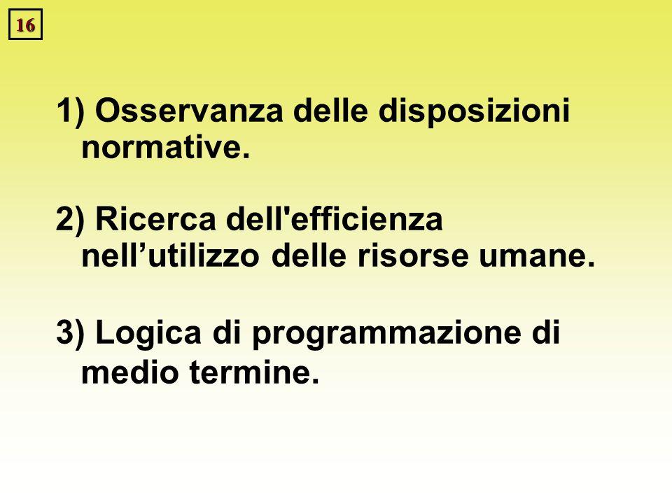 16 1) Osservanza delle disposizioni normative. 2) Ricerca dell'efficienza nellutilizzo delle risorse umane. 3) Logica di programmazione di medio termi