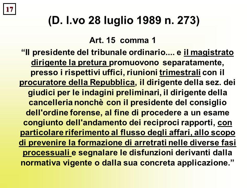 17 (D. l.vo 28 luglio 1989 n. 273) Art. 15 comma 1 Il presidente del tribunale ordinario.... e il magistrato dirigente la pretura promuovono separatam