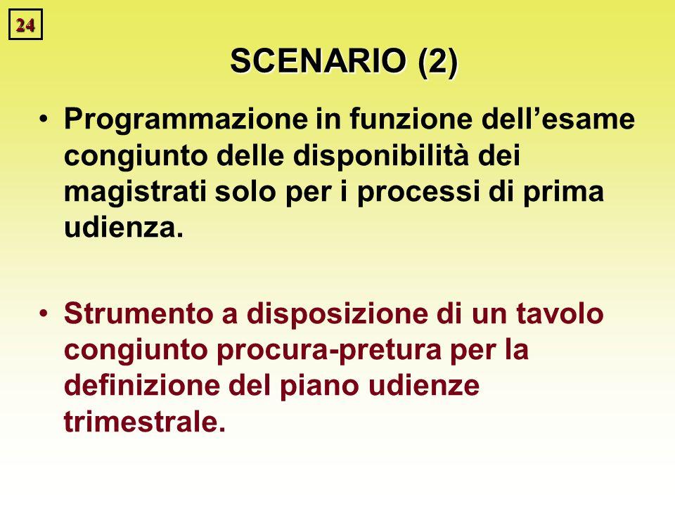 24 SCENARIO (2) Programmazione in funzione dellesame congiunto delle disponibilità dei magistrati solo per i processi di prima udienza. Strumento a di
