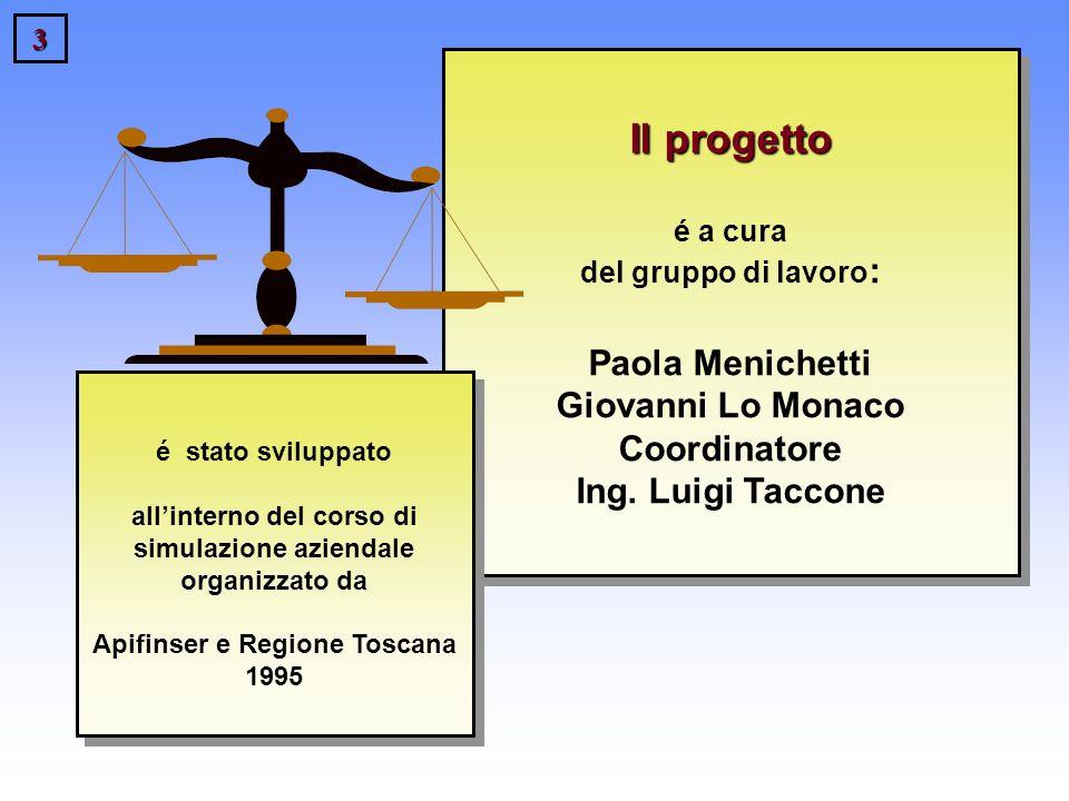 3 Il progetto Il progetto é a cura del gruppo di lavoro : Paola Menichetti Giovanni Lo Monaco Coordinatore Ing. Luigi Taccone é stato sviluppato allin