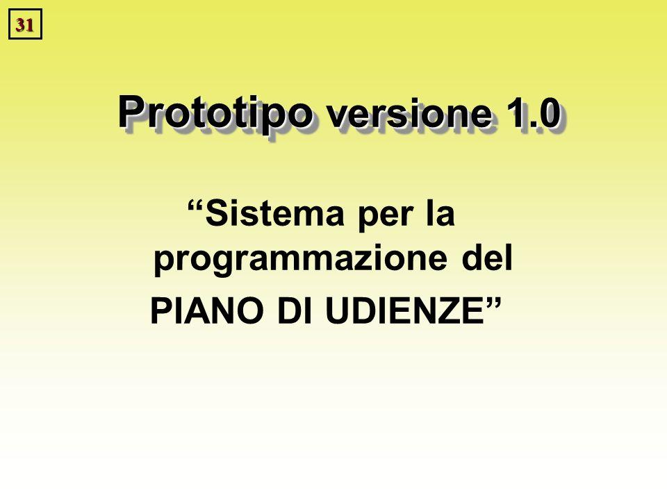 31 Prototipo versione 1.0 Sistema per la programmazione del PIANO DI UDIENZE