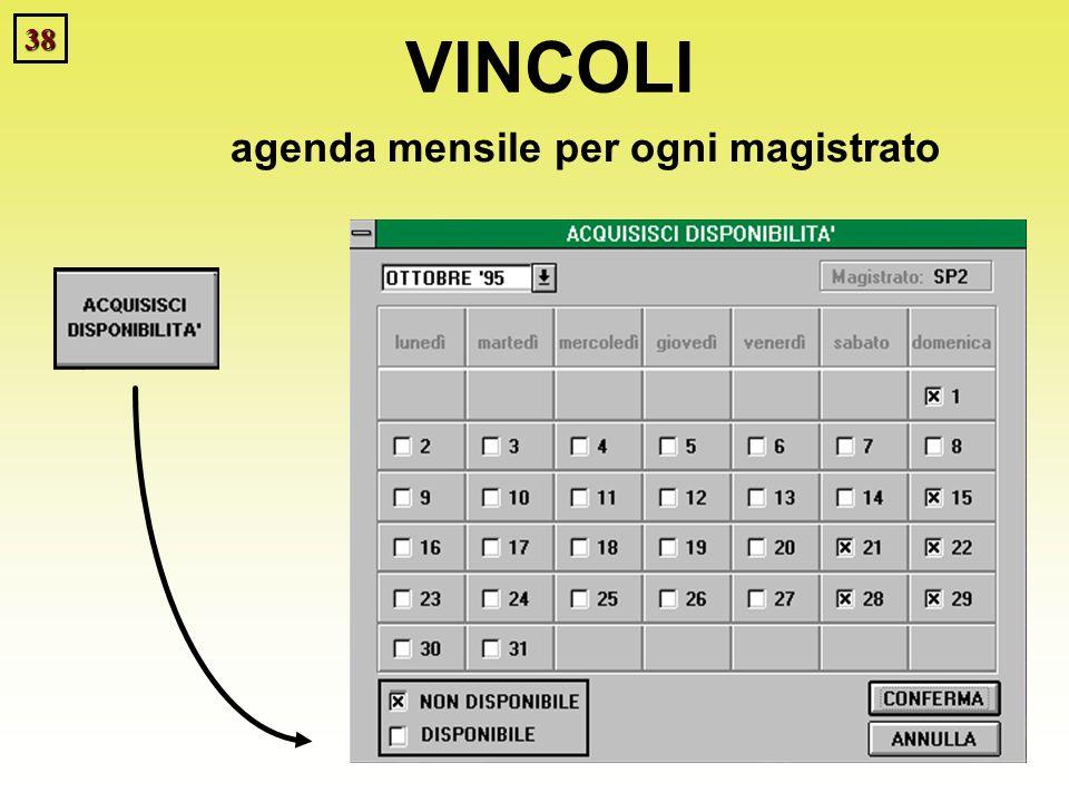 38 VINCOLI agenda mensile per ogni magistrato