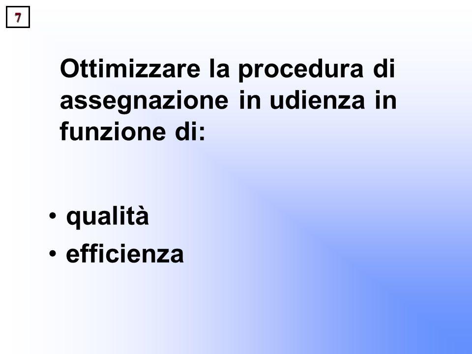 7 Ottimizzare la procedura di assegnazione in udienza in funzione di: qualità efficienza