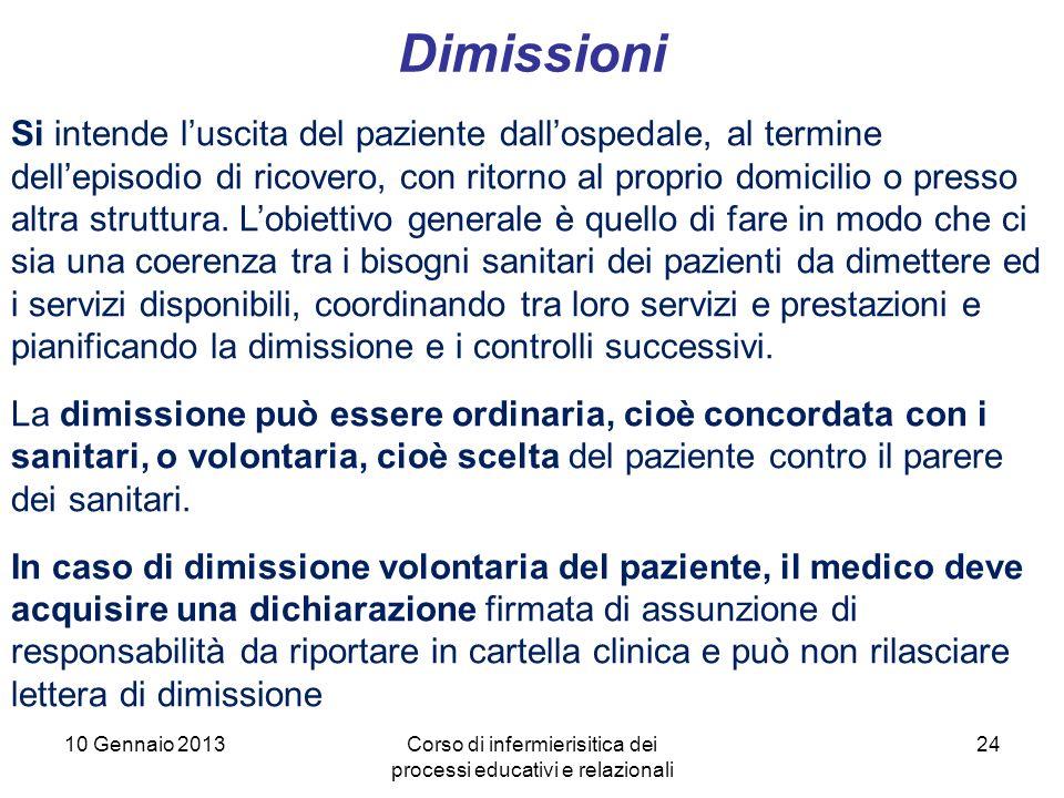 24 Dimissioni 10 Gennaio 2013Corso di infermierisitica dei processi educativi e relazionali Si intende luscita del paziente dallospedale, al termine d
