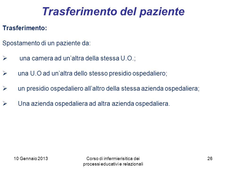 26 Trasferimento del paziente 10 Gennaio 2013Corso di infermierisitica dei processi educativi e relazionali Trasferimento: Spostamento di un paziente
