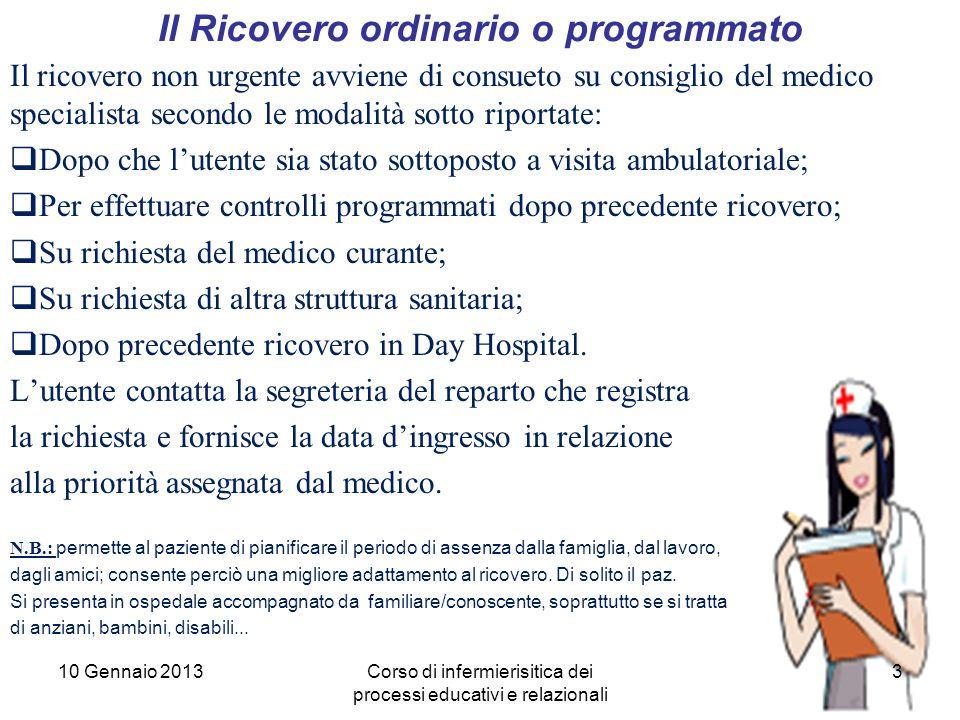 3 Il Ricovero ordinario o programmato Il ricovero non urgente avviene di consueto su consiglio del medico specialista secondo le modalità sotto riport
