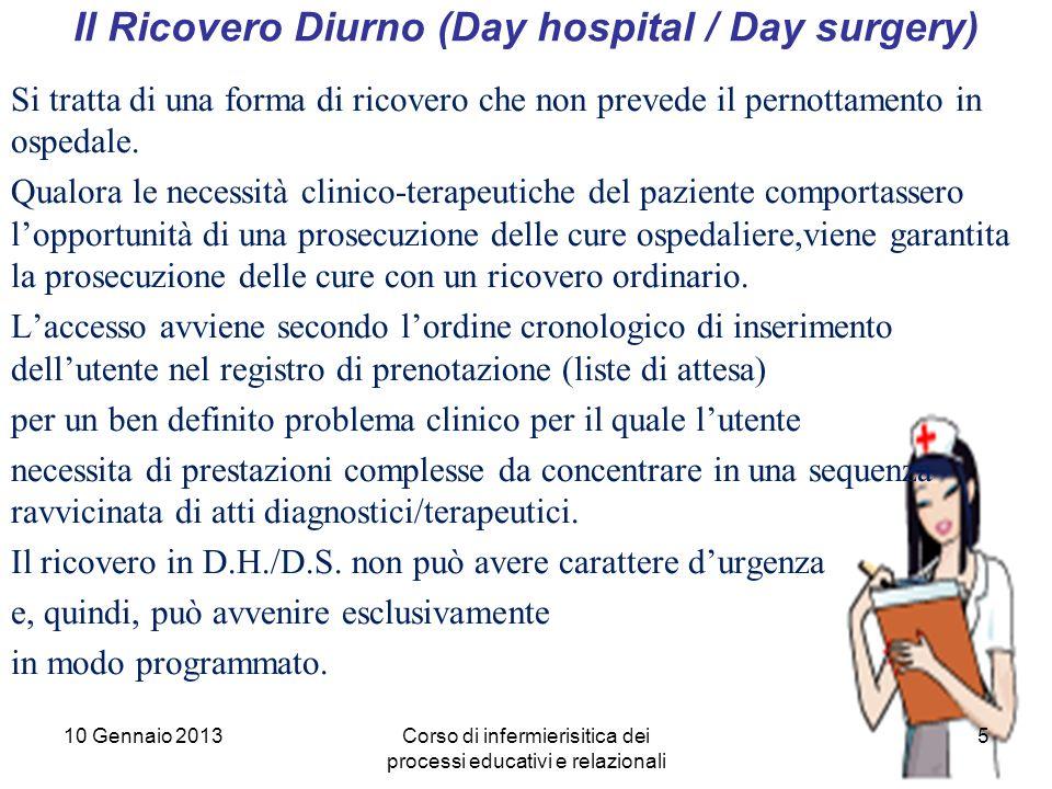 5 Il Ricovero Diurno (Day hospital / Day surgery) Si tratta di una forma di ricovero che non prevede il pernottamento in ospedale.