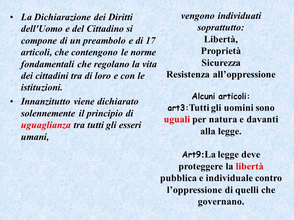 La Dichiarazione dei Diritti dell'Uomo e del Cittadino si compone di un preambolo e di 17 articoli, che contengono le norme fondamentali che regolano