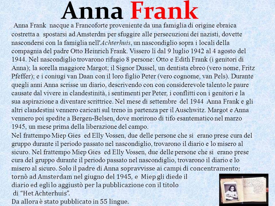 Anna Frank nacque a Francoforte proveniente da una famiglia di origine ebraica costretta a spostarsi ad Amsterdm per sfuggire alle persecuzioni dei na