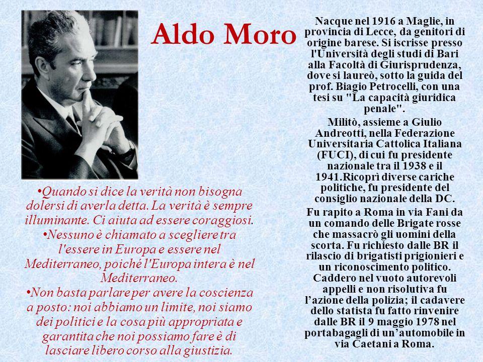 Aldo Moro Nacque nel 1916 a Maglie, in provincia di Lecce, da genitori di origine barese. Si iscrisse presso l'Università degli studi di Bari alla Fac