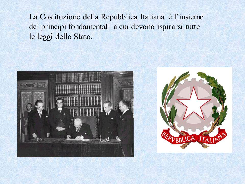 La Costituzione della Repubblica Italiana è linsieme dei principi fondamentali a cui devono ispirarsi tutte le leggi dello Stato.