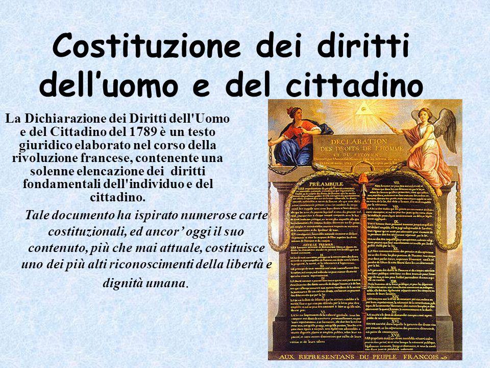 Costituzione dei diritti delluomo e del cittadino La Dichiarazione dei Diritti dell'Uomo e del Cittadino del 1789 è un testo giuridico elaborato nel c