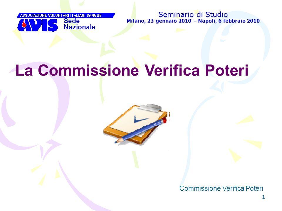 52 Seminario di Studio Milano, 23 gennaio 2010 – Napoli, 6 febbraio 2010 Sede Nazionale Commissione Verifica Poteri [ Compiti della Commissione Verifica Poteri dellAvis Provinciale: 2.
