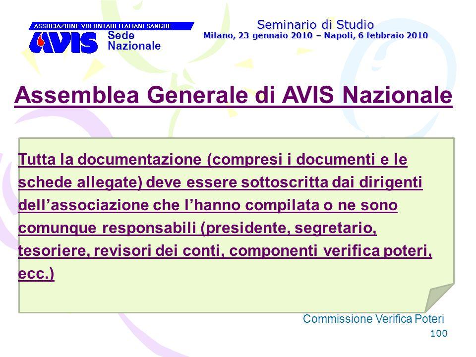 100 Seminario di Studio Milano, 23 gennaio 2010 – Napoli, 6 febbraio 2010 Sede Nazionale Commissione Verifica Poteri [ Assemblea Generale di AVIS Nazi