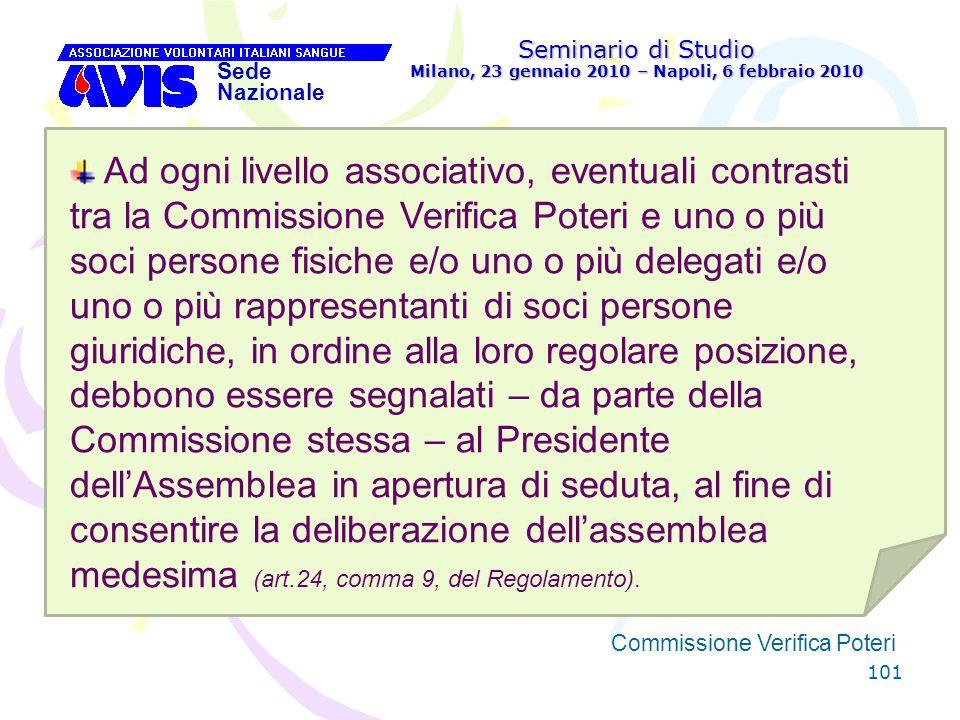 101 Seminario di Studio Milano, 23 gennaio 2010 – Napoli, 6 febbraio 2010 Sede Nazionale Commissione Verifica Poteri [ Ad ogni livello associativo, ev