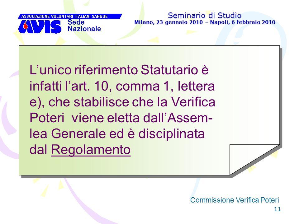 11 Seminario di Studio Milano, 23 gennaio 2010 – Napoli, 6 febbraio 2010 Sede Nazionale Commissione Verifica Poteri Lunico riferimento Statutario èinf