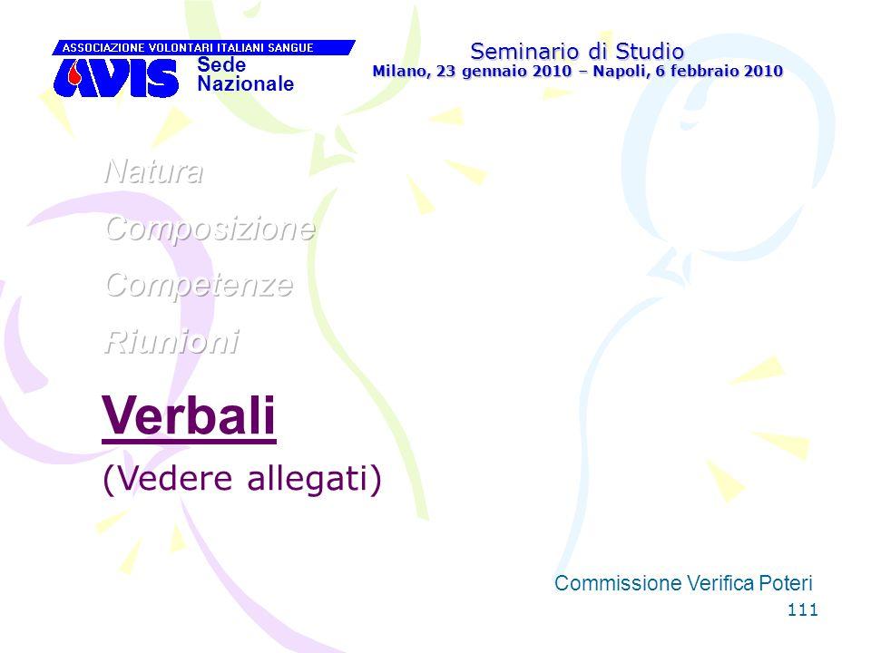 111 Seminario di Studio Milano, 23 gennaio 2010 – Napoli, 6 febbraio 2010 Sede Nazionale Commissione Verifica Poteri [