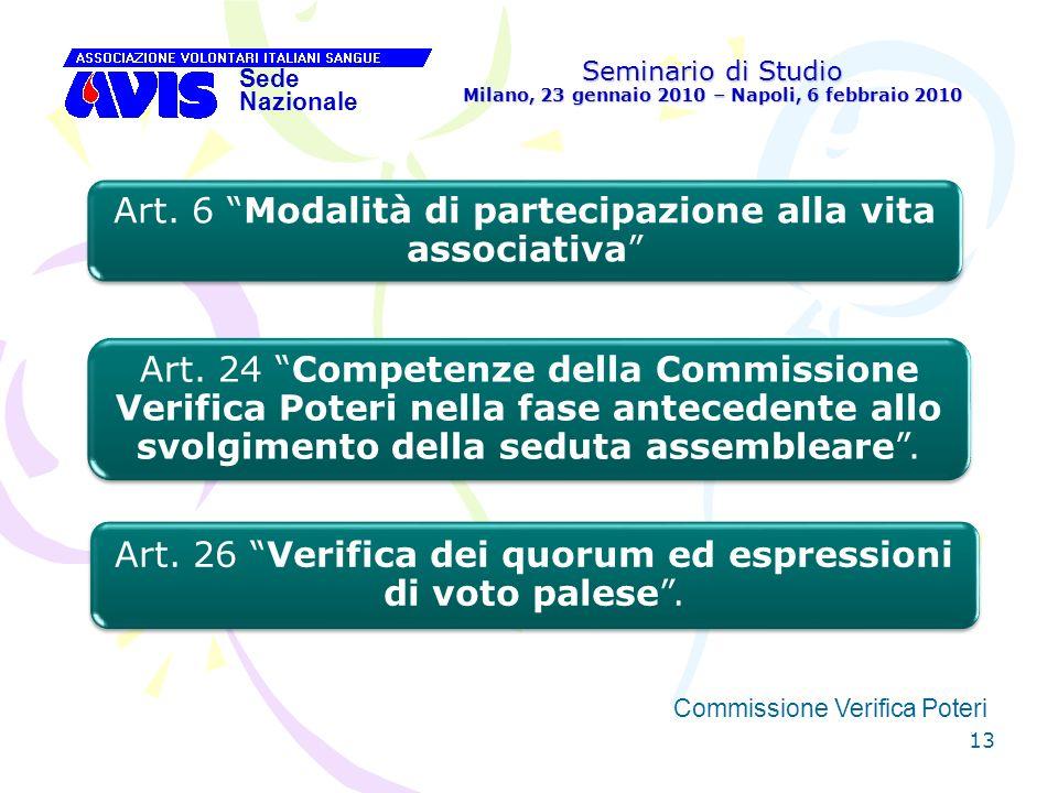 13 Seminario di Studio Milano, 23 gennaio 2010 – Napoli, 6 febbraio 2010 Sede Nazionale Commissione Verifica Poteri [ Art. 6 Modalità di partecipazion