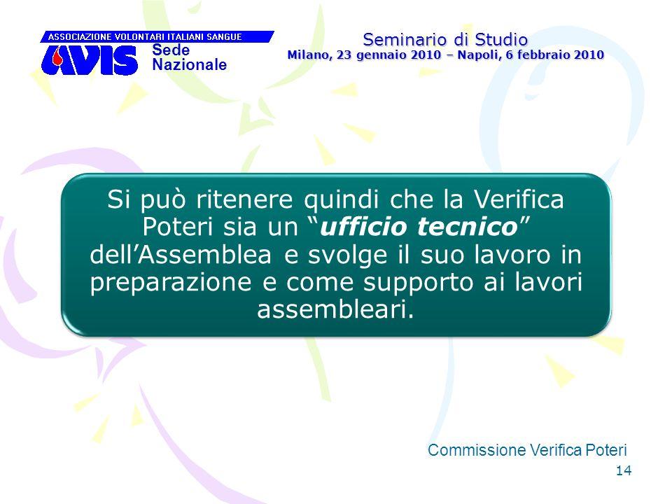 14 Seminario di Studio Milano, 23 gennaio 2010 – Napoli, 6 febbraio 2010 Sede Nazionale Commissione Verifica Poteri Si può ritenere quindi che la Veri