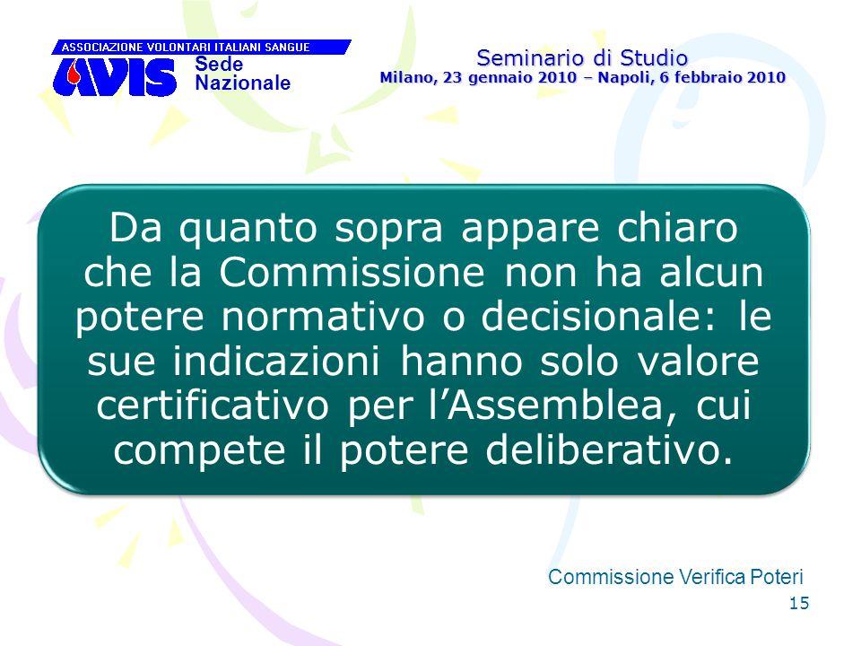 15 Seminario di Studio Milano, 23 gennaio 2010 – Napoli, 6 febbraio 2010 Sede Nazionale Commissione Verifica Poteri [ Da quanto sopra appare chiaro ch