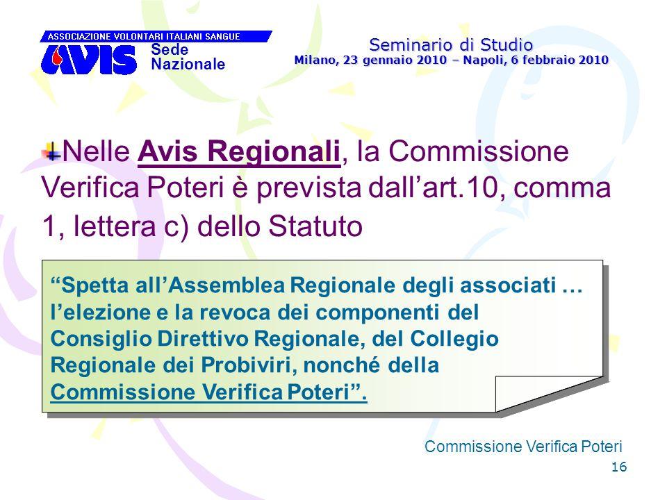 16 Seminario di Studio Milano, 23 gennaio 2010 – Napoli, 6 febbraio 2010 Sede Nazionale Commissione Verifica Poteri [ Nelle Avis Regionali, la Commiss