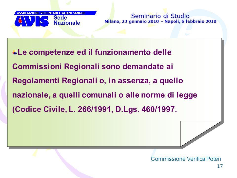 17 Seminario di Studio Milano, 23 gennaio 2010 – Napoli, 6 febbraio 2010 Sede Nazionale Commissione Verifica Poteri [ Le competenze ed il funzionament