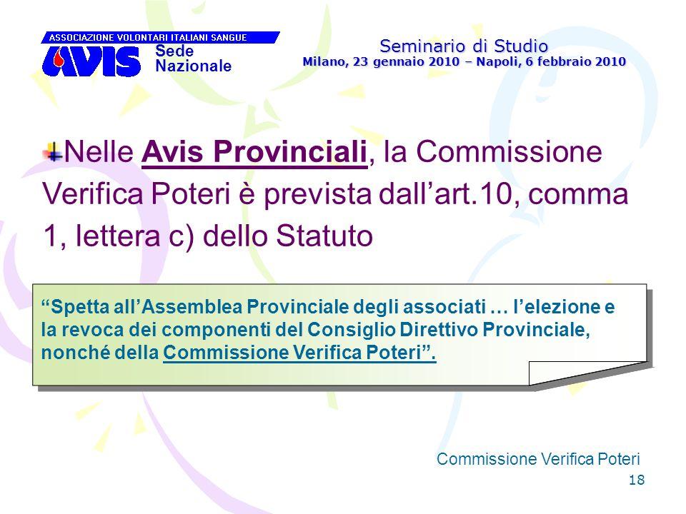 18 Seminario di Studio Milano, 23 gennaio 2010 – Napoli, 6 febbraio 2010 Sede Nazionale Commissione Verifica Poteri [ Nelle Avis Provinciali, la Commi