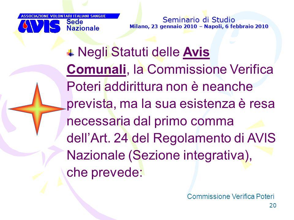 20 Seminario di Studio Milano, 23 gennaio 2010 – Napoli, 6 febbraio 2010 Sede Nazionale Commissione Verifica Poteri [ Negli Statuti delle Avis Comunal